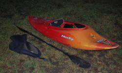 Up for grabs is a real nice Necky Switch play boat. This has served me well and is super forgiving, easy to learn in and awesome in the water. Has Bomber gear backband, and foam foot blocks. Comes with a sprayskirt and a paddle. I am 5`11```and about