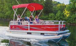 """**LIMITED TIME OFFER** $23,995 w/20 ELPT 4Stroke BigFoot LIMITED TIME BONUS: Upgraded Cover & Fishfinder! Includes Sun Tracker 10+Life Warranty """"The Best Warranty in the Pontoon Business""""! *Offer Expires End of Month Family-sized fishing fun for up to"""
