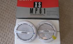 """new) in the box set of 2 Sony marine speakers. Sony XS MP61 61/2"""" duel cone speakers. Comes with wires for hook up. High density composite polyproplene cone woofers. 80W max /speaker They came as a set with new sterio pkg and i dont need the speakers."""