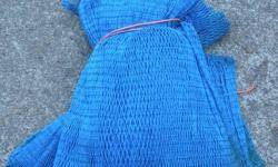 """Unused 1.5"""" (measured centre to centre of knots) patchweb 25' long (stretched) by 190 meshes. Blue. For Driscoll net. Great for sport traps or commercial patch."""