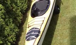 "Rare Lightweight/ Kevlar! 68lbs/30kg 3 Paddles, 2 sprayskirts, rudder, pump. Sail mount. 20'-6"""