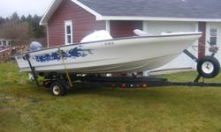 I am selling this fishing boat because I have recently bought a new boat and in no need of more boats. has live-well and a 2006 yamaha 40 four stroke outboard motor with low hrs with trailer. please call 902 631 1705 or 902 226 2703 after 6:30 pm   asking