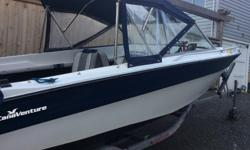 Bought a bigger boat and now this one must go! Hull is a 1984 Canaventure with flooring, fold out seats, vinyl upholstery and full canvas enclosure completely redone 2 years ago. Floor is very solid with no rot. Center window opens to the bow for easy