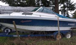 Selling my Rinker as is. Currently the motor is not working as there seems to be a crack in one riser. Hull and trailer are in very good condition, upholstery is still good with no cracks. Interior and carpet are excellent and no leaks. Comes with snap on