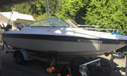 1996 Livingston Viking fishing machine on a 1997 highliner trailer. Powered by a Mercury 125HP offshore series oil injected 2 stroke and a Yamaha 9.9HP 4 stoke kicker. Brand new Baystar hydraulic steering installed last winter, dual battery setup, one for
