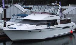 """Price reduced Rare opportunity to own a 1988 Ocean Alexander 420 Sundeck model yacht. Twin Volvo TAMD61A Diesels, rated at 306hp each. ONAN 8kw generator. Loaded with extra including an 11'2""""' Aquapro RHIB with a 15hp Merc. This amazing yacht is boathouse"""