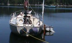 """1976 in good seaworthy shape; hauled out and painted this month. Now at Saltspring until sold. Will show by appointment - make sure I have your phone number or email . Has dodger and full cockpit cover and many other features. Headroom 6'4"""". Teak nice"""