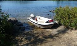 Great fishing boat. 11.5ft can take up to a 10 hp motor has rod holders and stable as a Jon boat like a little bass boat. With a trolling motor you can stand up and fish the shore line to catch that trophy bass.  Had a lot of fun this summer with it but