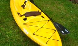 Pelican Fishing Kayak, 2 years old, bought at Canadian Tire on sale for $499+ tax and $70 for the paddle. The paddle pulls apart for easy storage in the vehicle. Comes with a rod holder in the centre of the kayak and there are 2 other spots where rods can