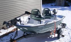 SUMMER IS COMING FORSALE A PELICAN PREDATOR 103 the ultimate in small fishing boats.Feature packed, with lots of elbow room, and overall easy to use... COMES WITH TRAILER INSPECTED UNTIL MAY 2013. A 2006 2HP. FOUR STROKE Honda SELF FED OIL MOTOR 30LB.