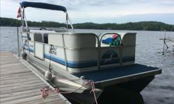 18 Foot Pontoon Boat in Very Good Condition 6 feet wide 25 Horsepower Yamaha 4 Stroke Engine Power Tilt and Trim Bimini Cover Customized Mooring Cover With new trailer and Humminbird Fishfinder 525 Asking $6900 Call Roman at 705-206-1057