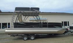 "Premier 2016 240 Sunsation Upper Deck PP1144 All standard features PLUS: Evinrude 150 ETEC 30"" PTX performance package, Hydraulic steering Walk On upper deck with water pump & slide Full Grass Cloth flooring Toe Kick Strip Lighting Black Hammered Rails"