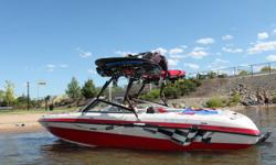 20 foot ski boat with collapsable wakeboard tower for storage, two new polished aluminum wakeboard racks, new wakeboarding mirror, 5.0L GXI fuel injected Volvo engine, high five stainless steel 19 pitch prop, stereo, cd player, ipod ready, with 8 speakers