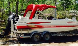 2010 Princecraft Ventura 222 Deckboat, 200 HP Mercury Optimax outboard with 4 blade stainless prop, power steering, only 74 hours of running time,stainless ski bar,automatic bilge pump, travel tarp, folding canopy,22 foot 12 person capacity, fishfinder