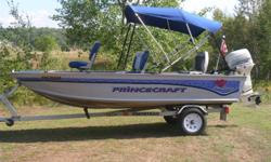 Pricecraft Pro Series 142 with a 2006 Johnson 35h/p tiller with electric start/trim. Boat/motor/trailer are all in excellent condition. Great fishing package. Bimini top, livewell, running lights, bilge pump, cup holders, storage. I will also include a