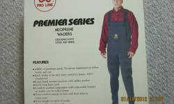 "New in box Size large neoprene waders - stocking foot Fits 5'9"" - 6'1"" 165lbs- 190lbs Foot size 9 -12   4mm neoprene laminated to nylon inside and out 100 % waterproof hand warming pockets"