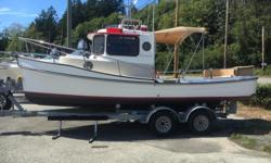 Year 2007, 21' EC with fridge,stove,sink,toilet, Yanmar 3 cyl. 30 hp diesel with only 411 hours, ex lake boat, has not seen saltwater. Garmin depthsounder,VHF,stereo, includes tandem axle trailer, in very good condition.
