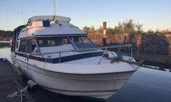 1979 Bayliner Victoria command bridge with a 255A Volvo Penta engine and 280 out drive. Engine and outboard recently serviced. All Navigation lights have been converted to LED. This is a great cruising and fishing boat with a very spacious cabin with Teak