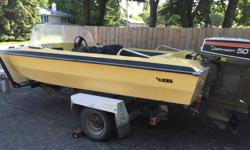 MOTIVATED SELLER!! Boat year unknown, late 70s or early 80s with a 1975 Johnson 50 hp motor. Electric start, power tilt. Awesome little boat with lots of work done to it. Motor has: -new coils -new thermostat -new water pump -new plugs -rebuilt carbs last