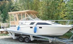 """Estate Sale-- Offers -30"""" Bayliner, Volvo v8 I/o, dual axel trailer, good working order, extensive professional renovations to cabin, open rear cockpit enclosed with safety glass c/w raising windows, cross hull galley/head creates two double ensuite"""