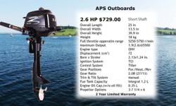 2012 Pre-order Special Pricing Advanced Power Sport (APS) Outboards and Inflatable. Our Outboards are a portable, quality outboard motors backed by rigorous testing and over tens years of on-the-water-use (including rental fleets) to ensure you enjoy a