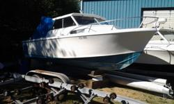 Sangster Boat 23ft., no motor,needs a littleTLC White & Blue Would make a good pod boat. Please call Daryl ph. 250-240-3520