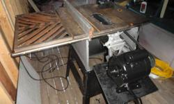 HAVE  A  TABLE  SAW   [  belt   driven] 34 / hp. ,  110 / 220  in good shape    the angles  and  the  ups  and  downs  all  work  ,comes  with  stand  and  is  very  heavy,  had  it changed to  110  in the summer CAN BE CHANGED BACK ,  has  guide  ,has to