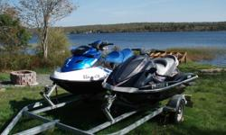2007 Sea-doo GTX 155hp and a 2007 Yamaha Waverunner 110hp for sale, with a 2 year old Karavan double trailer. Includes covers and lifejackets. May be willing to sell seperately..open to offers.