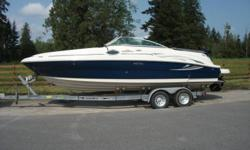 2006 Sea Ray blue hull, 240 Sundeck complete with excellent 2 axle aluminum trailer.Has  only 138 original hours on the 5.7 liter  350 Magnum Mercruiser MPI with Bravo 3 outdrive.Ample seating enclosed head,cockpit sink and bar,lots of storage.2 boarding