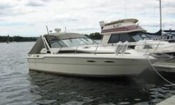 Boat is in excellent shape and working condition.  Two new Mercury 5.7 engines with less than 200 hours.  11' Beam. Boat is shaft driven with heat exchange unit (FWC) Alcohol/electric burner stove.  Dual voltage fridge (12/120v) 30 amp shore power