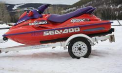 Selling 1998 GSX Limited SeaDoo with trailer.  130 HP/ 10 hours use on new motor. Includes spare tire for trailer and SeaDoo cover.  Well maintained and in excellent condition. $3500 obo