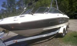 Mercruiser V8 5.0L,  220 hp, only 100hrs on this boat, wakeboard tower with racks, stereo with aux jack, bimini top, canvas covers, snap in carpets, depth gauge, dual axle trailer with swing hitch. lots of storage. Very clean and well maintained boat,