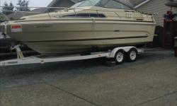 This Sea Ray has seen only 532 Freshwater hours since new and has been well cared for and stored by the original owner. Mercruiser 260HP, Alpha Leg rebuilt 2014. Equipped with heat exchanger for Salt water. Fridge.Range, Head. Great for weekend getaways