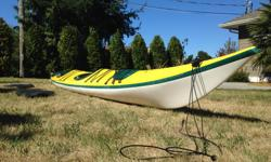"""THE BEST all-around 2-person kayak available on the Island. Reknowned for superiority of speed, comfort, handling in rough seas, load capacity & steer-ability. A pleasure to paddle. Length 22'; Beam 26"""", Weight 90 lbs (40 kg). See photos. Please refer to"""