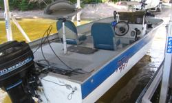 18' TUFFY WALLEYE/BASS BOAT. 70 MER, PT&T, livewell, bilge, lights, 50 lb Minn Kota bow foot control, New fish finder, NEW non-current Karavan roller trailer., Casting seat w/power pedestal, windshield, etc Consider trade-quad, sled, small alum fish boat