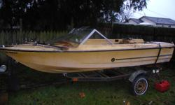16 ft speed boat complete with steering and shift controls floor needing some repair  otherwise in good cond . trailer is fair with no towing problems lights work  call tony @  250 619 3848
