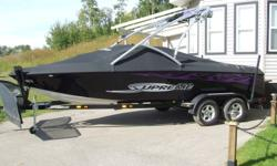 "2006 SKY SUPREME V220, 330hp Mercruiser black scorpion V-8 (LOW HOURS). V-drive. This is a 22' open bow wake/surf board boat. Has ballast tanks, Tower with wake board racks, Teak swim deck, CD player, I Pod connection with amp 1 12"" sub, tower speakers &"