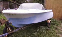 SOLD ~ Thanks 14ft Thermocraft fiberglass boat , light blue in color , hull good, floatable. Does NOT have a motor, takes outboard type. has steering wheel, and seats are very good shape. Comes with trailer, Trailer is not insure-able as is, have no