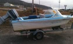14.5 foot speedboat, 60 HP Evenrude Motor, and trailer for sale.  Serviced last year, great working condition.  Also has working stereo n cd player, electric start for motor, electric trim.  This boat can go!! For info please call 640-7825.