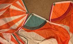 "orange & white Horizontal & vertical stripes Excellent condition Luff & leech 26'6"" Foot 15'3"""