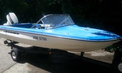 Late 80s 14 foot Vanguard fibreglass boat and 40 hp 2 stroke outboard on trailer. A clean little unit that comes with a canvas cockpit cover and a tripod for tubing. Engine will need a tune up and the powerhead may need some TLC. Near new battery, newer