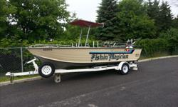21 foot starcraft, mariner 210 with Jhonson 110 VRO center console,deep V hull. Floor replaced 5 years ago and transom last year Excellent lake ontario boat. Ezloader trailer with LED lights and good rubber.3 on board battery's, livewell, overhead Bimini
