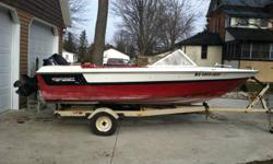 Starcraft American 16 foot boat motor and trailer. 1976. 80 hp mercury outboard engine. tilt trailer, would make a great fishing boat. good solid hull. extra prop included. $1000 or best offer. Open to trades. Call 519-687-3437.