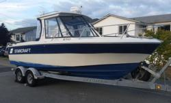 Starcraft Bluewater 221 Offshore 22' fiberglass boat with newer (2012) low hour 4.3 Mercruiser with Bravo 3 outdrive with duo stainless prop. Approximately 75 hours. Fuel efficient and lots of power. Closed cooling system. Mercury electric start 9.9 4