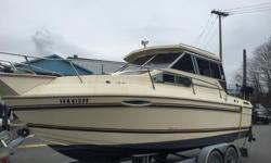 1984 Sunrunner 230 Volvo 225D with 668 hours Mercury 15hp 4-Stroke kicker Lowrance Elite 7 Chirp Plotter/Fish finder Lowrance Link 8 VHF Fridge Electric/Alcohol Stove Marine Head Inverter Scotty Electric Downriggers Highliner tandem axle trailer Well kept
