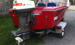 Excellent boat. 50 HP Johnson. Includes $1500 trailer. Price is firm. Call Kim at 529-6436