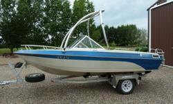 """Selling our reliable and """"mature"""" 17 ft open bow ski boat.  Motor is a 140 Merc cruiser inboard.  The boat is in good condition for the year and has been stored inside.  The seats need a little TLC as some of the seams have pulled apart.  Comes with fish"""