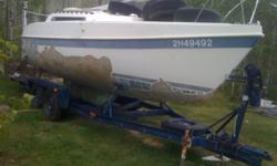 This is an amazing shallow draft 25 ft cruising sailboat on a wonderful strong trailer. She has also has been raced quite successfully. She was crippled by a storm on Ghost Lake about 12 years ago. Since then I have spent about $7500 on her for a mast,