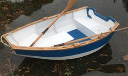 John Welsford design Tender Behind rowboat. Built as a 2018 summer project using marine grade plywood, oak, bronze fasteners, West system fibre glass and epoxy and marine grade paints and varnishes. Spruce oars included. I have receipts for all materials
