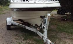 Thompson 17' fishing boat with 115 HP outboard and boat trailer. Boat and motor are very well maintenance and in mind shape. Stored inside all the time. Motor got some new parts before something would happen. New propeller. Everything works great and
